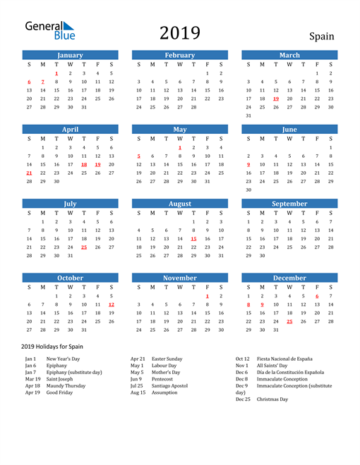 Image of 2019 Calendar - Spain with Holidays