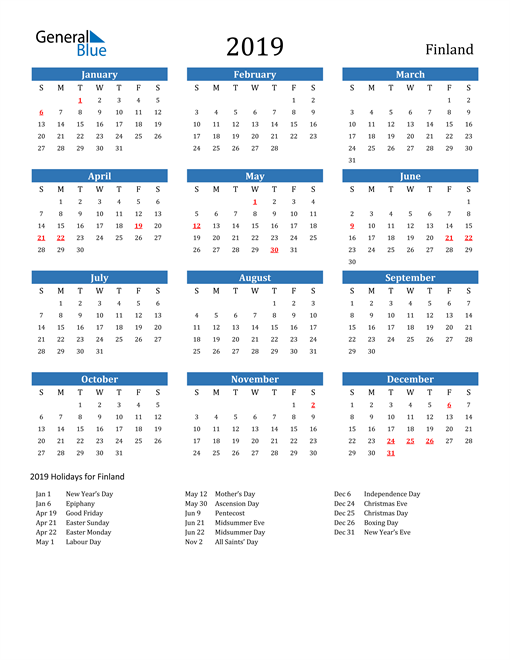 Image of 2019 Calendar - Finland with Holidays