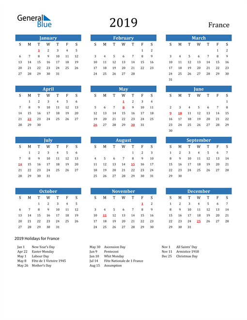 Image of 2019 Calendar - France with Holidays