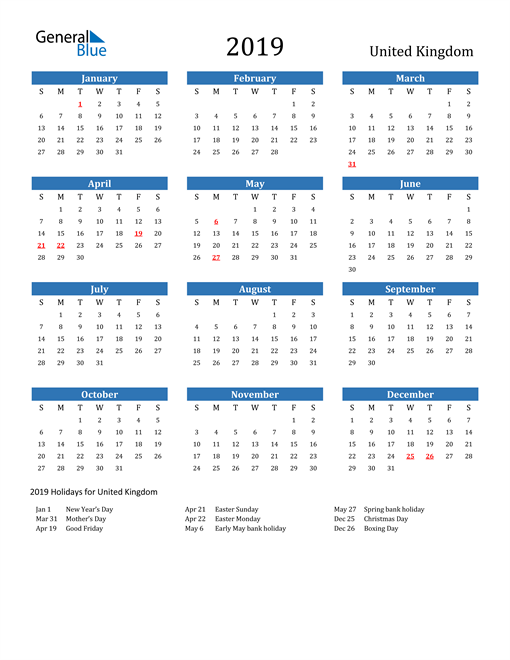 Image of 2019 Calendar - United Kingdom with Holidays
