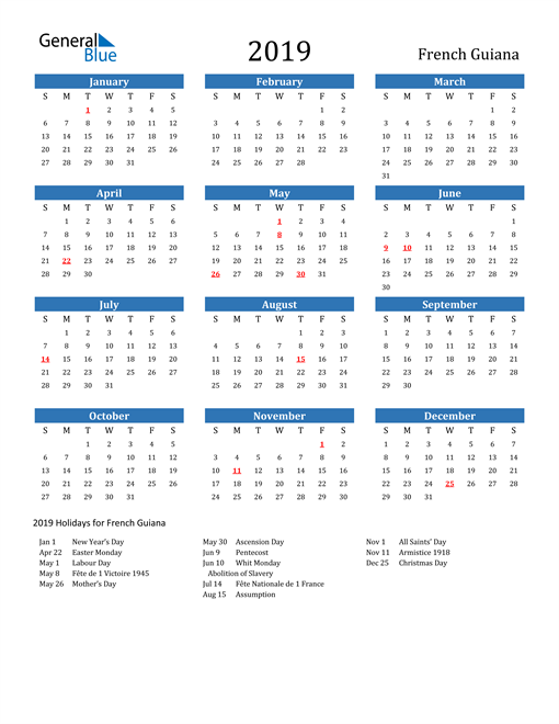 Image of 2019 Calendar - French Guiana with Holidays