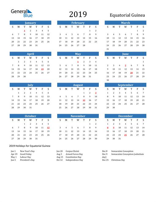 Image of 2019 Calendar - Equatorial Guinea with Holidays