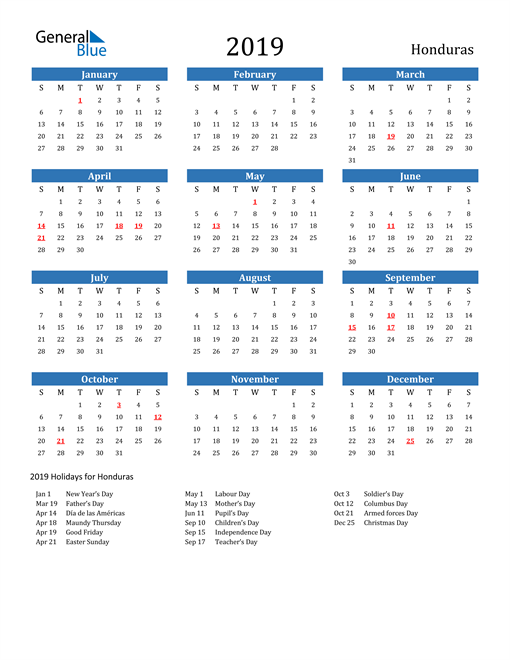 Image of 2019 Calendar - Honduras with Holidays