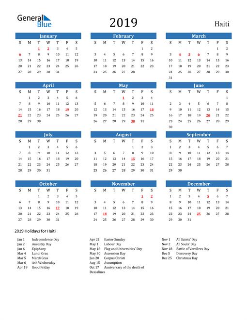Image of 2019 Calendar - Haiti with Holidays
