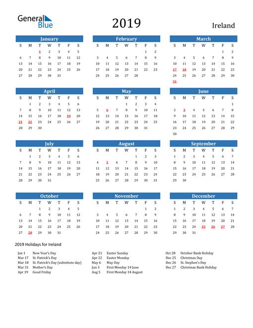 Image of 2019 Calendar - Ireland with Holidays
