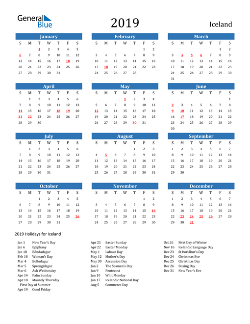 Image of 2019 Calendar - Iceland with Holidays
