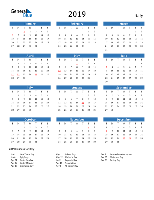 Image of 2019 Calendar - Italy with Holidays