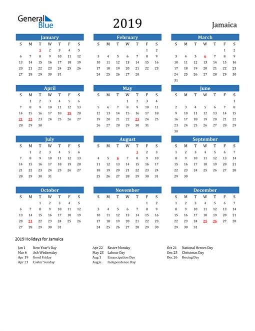 Image of 2019 Calendar - Jamaica with Holidays