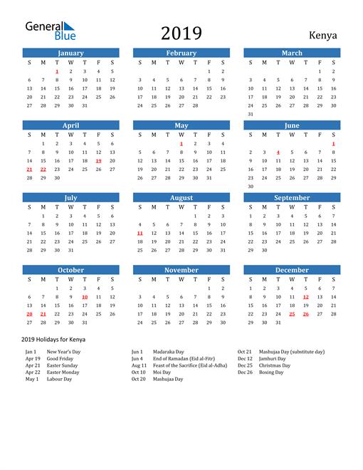 Image of 2019 Calendar - Kenya with Holidays