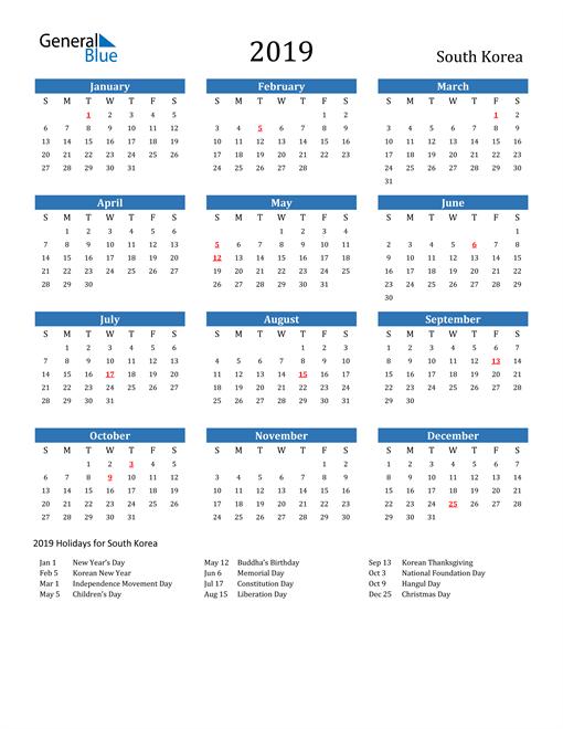 Image of 2019 Calendar - South Korea with Holidays