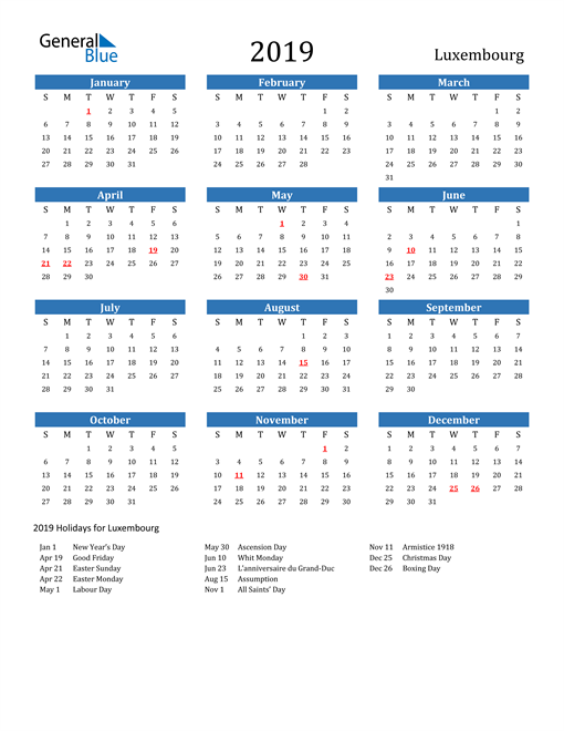 Image of Luxembourg 2019 Calendar with Holidays