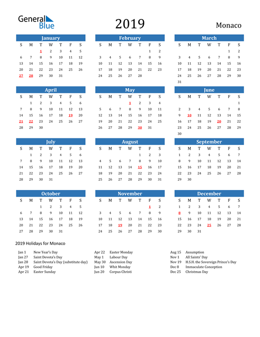 Image of 2019 Calendar - Monaco with Holidays
