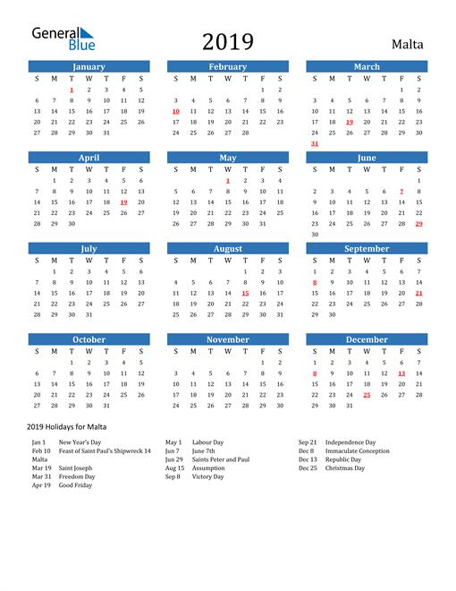Image of 2019 Calendar - Malta with Holidays