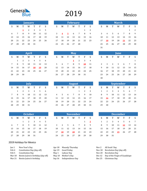 Image of 2019 Calendar - Mexico with Holidays