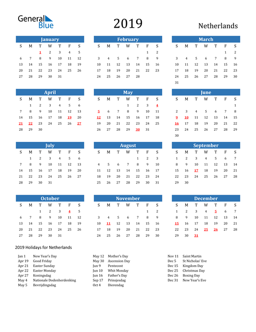 Image of Netherlands 2019 Calendar with Holidays
