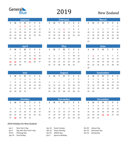 Image of 2019 Calendar - New Zealand with Holidays