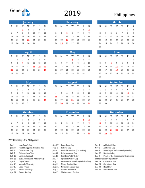Image of Philippines 2019 Calendar with Holidays