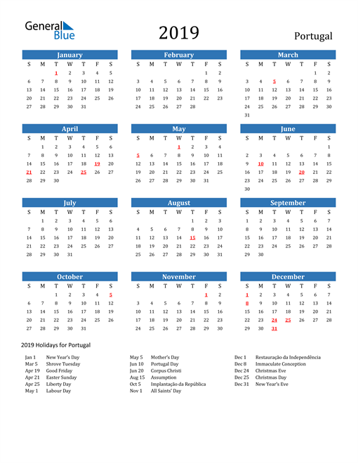 Image of Portugal 2019 Calendar with Holidays