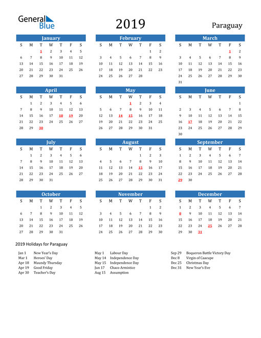 Image of 2019 Calendar - Paraguay with Holidays