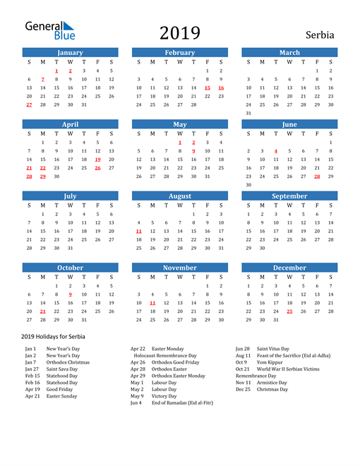 Image of 2019 Calendar - Serbia with Holidays