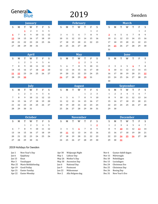 Image of 2019 Calendar - Sweden with Holidays