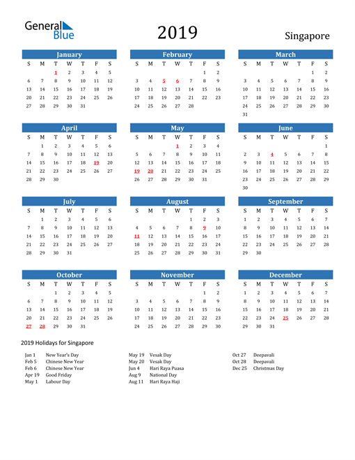 Image of 2019 Calendar - Singapore with Holidays