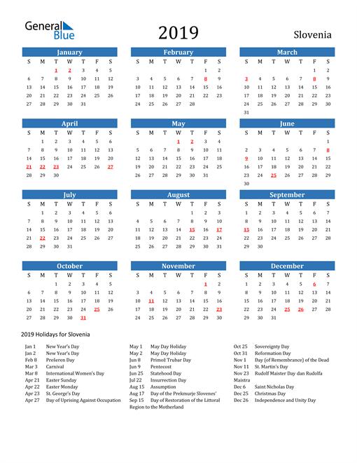 Image of 2019 Calendar - Slovenia with Holidays