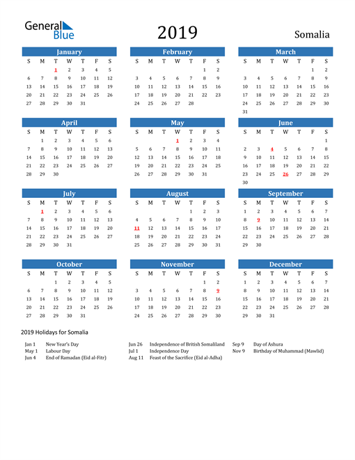 Image of 2019 Calendar - Somalia with Holidays