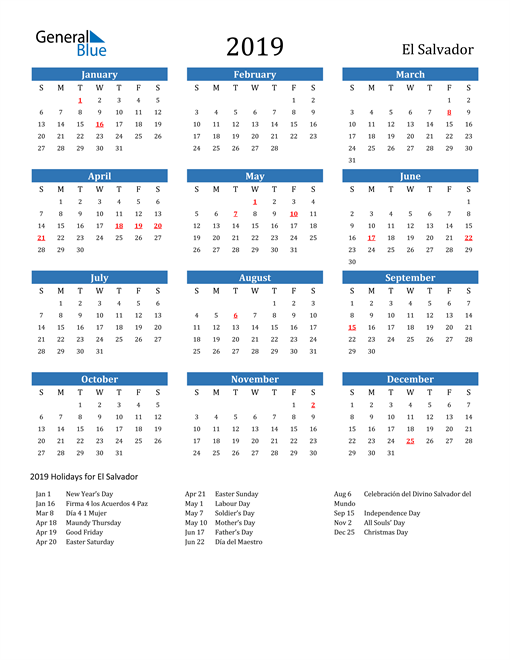 Image of 2019 Calendar - El Salvador with Holidays