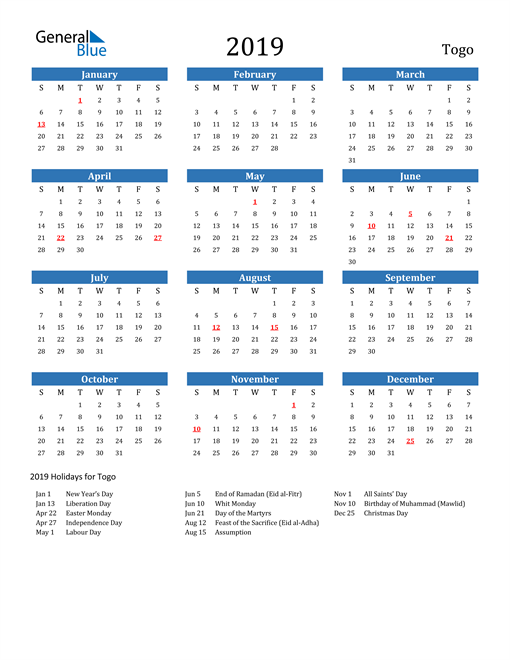 Image of 2019 Calendar - Togo with Holidays