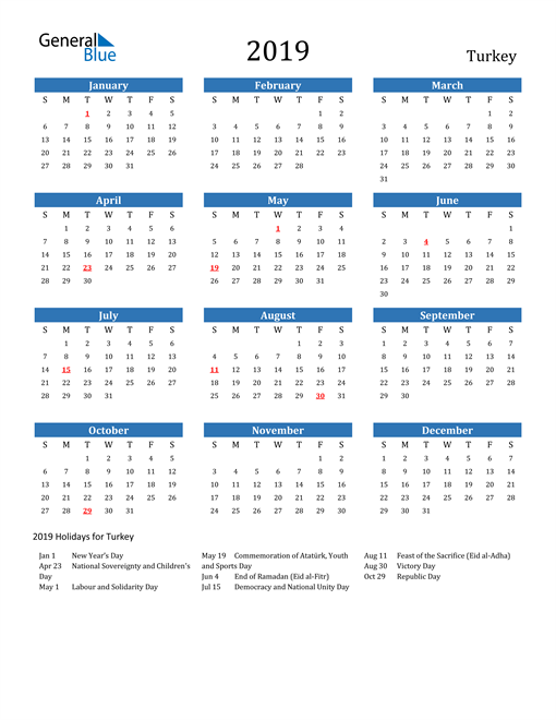 Image of Turkey 2019 Calendar with Holidays