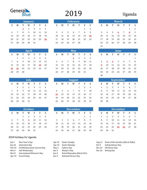 Image of 2019 Calendar - Uganda with Holidays