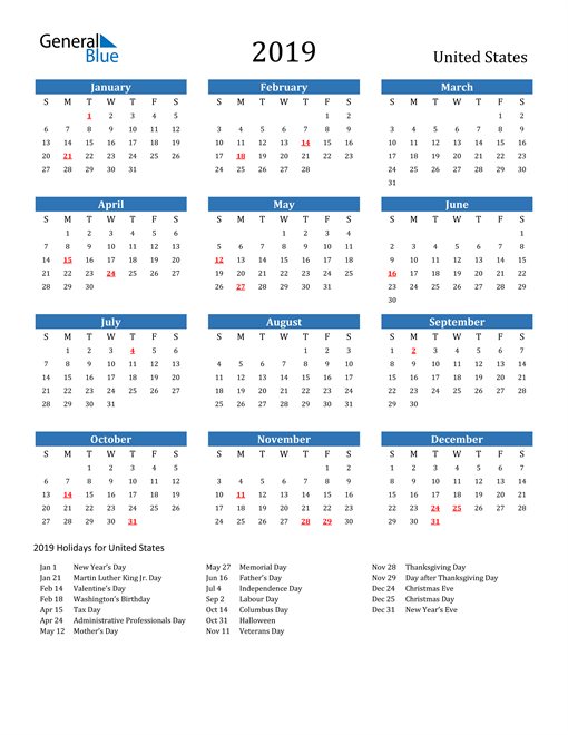 Image of United States 2019 Calendar with Holidays