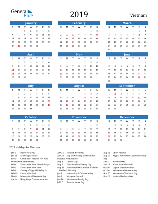 Image of Vietnam 2019 Calendar with Holidays