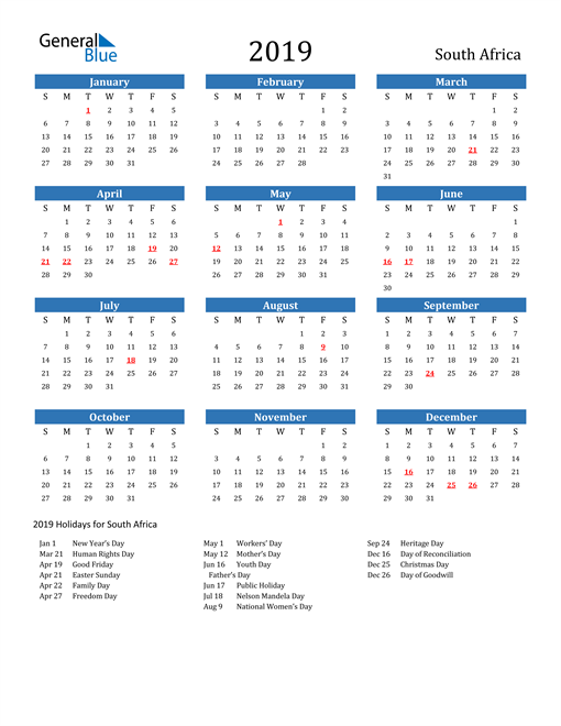 Image of 2019 Calendar - South Africa with Holidays