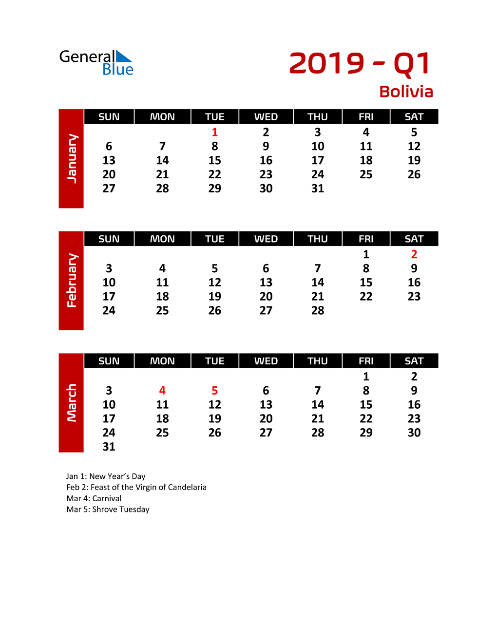 Q1 2019 Calendar with Holidays