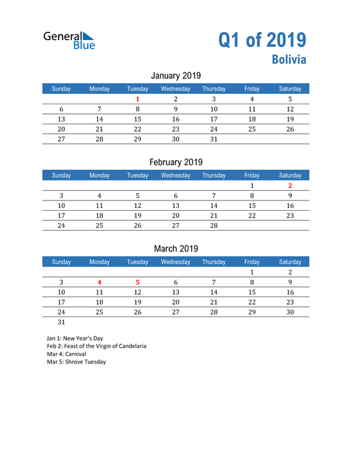 Bolivia 2019 Quarterly Calendar