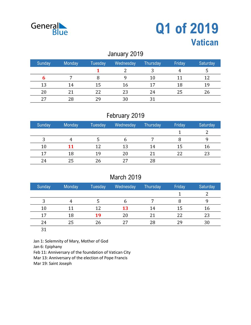Vatican 2019 Quarterly Calendar