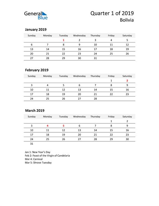 2019 Three-Month Calendar for Bolivia