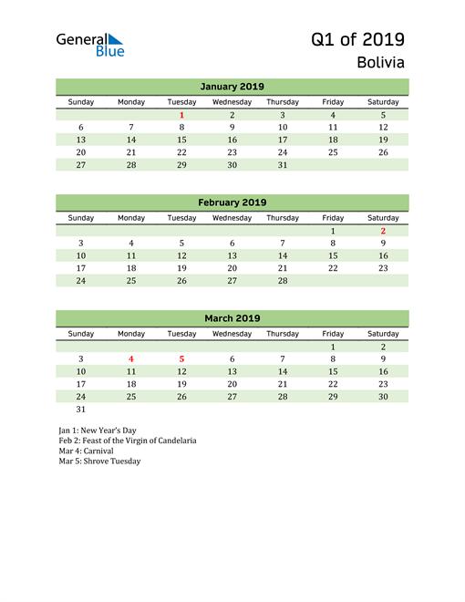 Quarterly Calendar 2019 with Bolivia Holidays