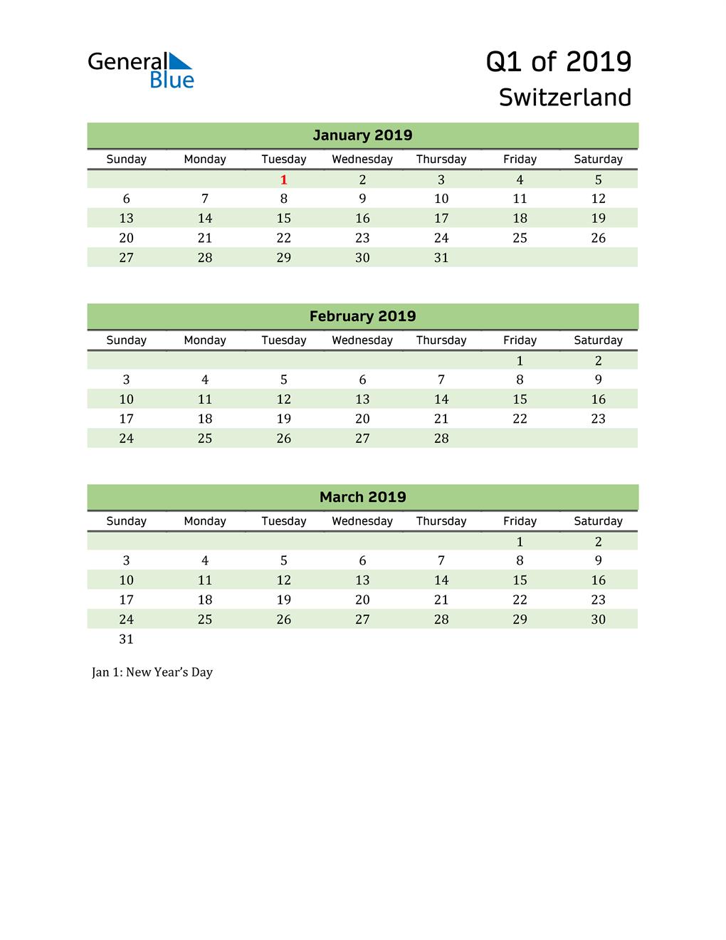 Quarterly Calendar 2019 with Switzerland Holidays