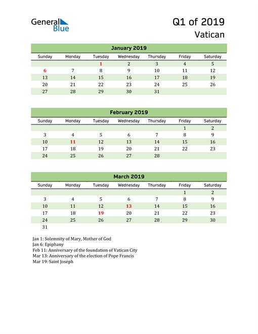Quarterly Calendar 2019 with Vatican Holidays