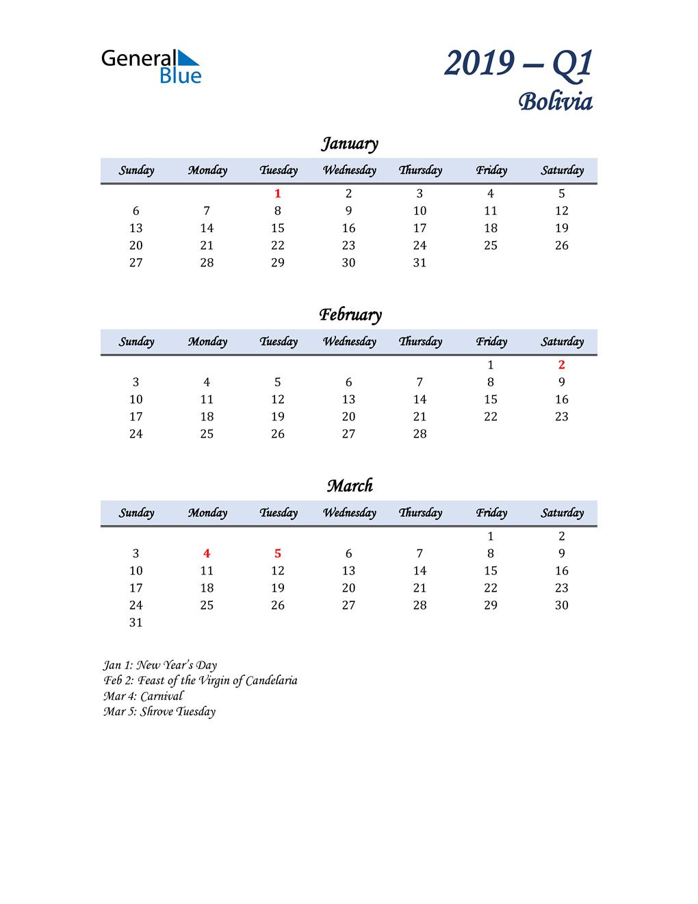 January, February, and March Calendar for Bolivia