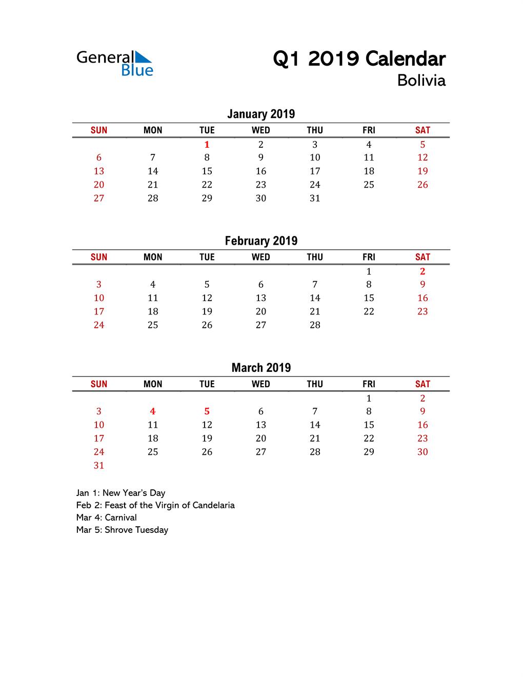 2019 Q1 Calendar with Holidays List