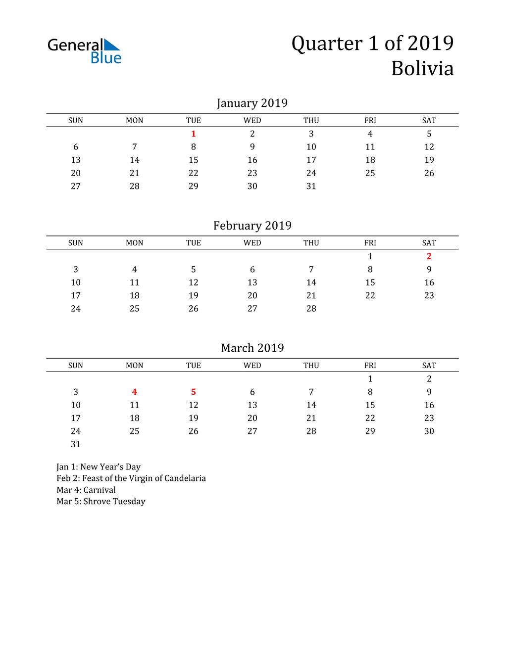 2019 Bolivia Quarterly Calendar