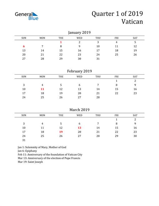 2019 Vatican Quarterly Calendar