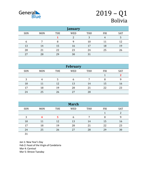 Three-Month Planner for Q1 2019 with Holidays