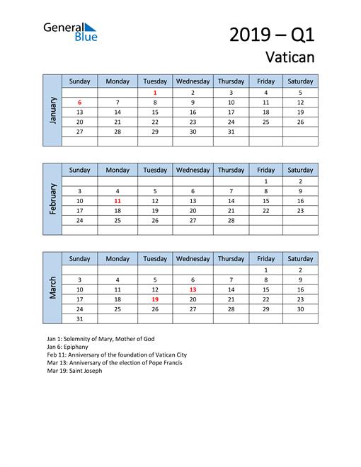 Free Q1 2019 Calendar for Vatican