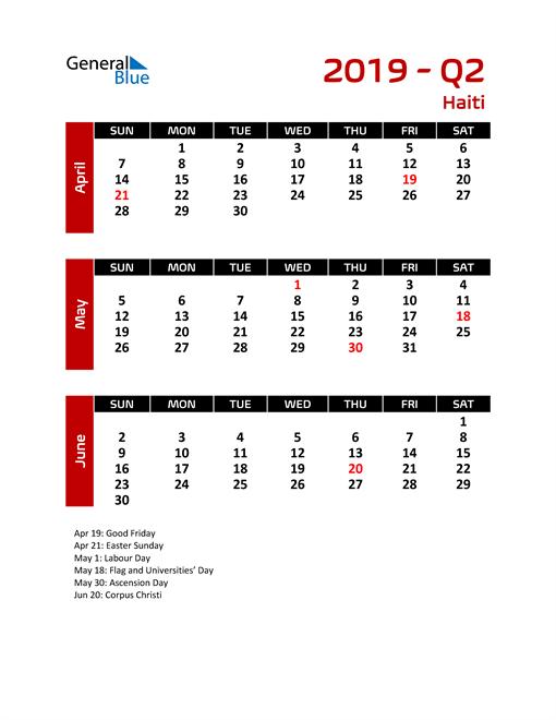 Q2 2019 Calendar with Holidays