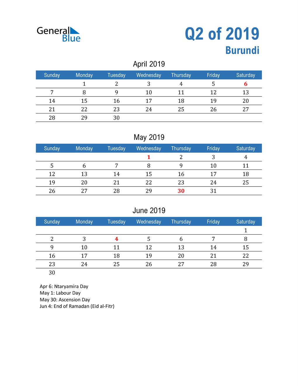 Burundi 2019 Quarterly Calendar